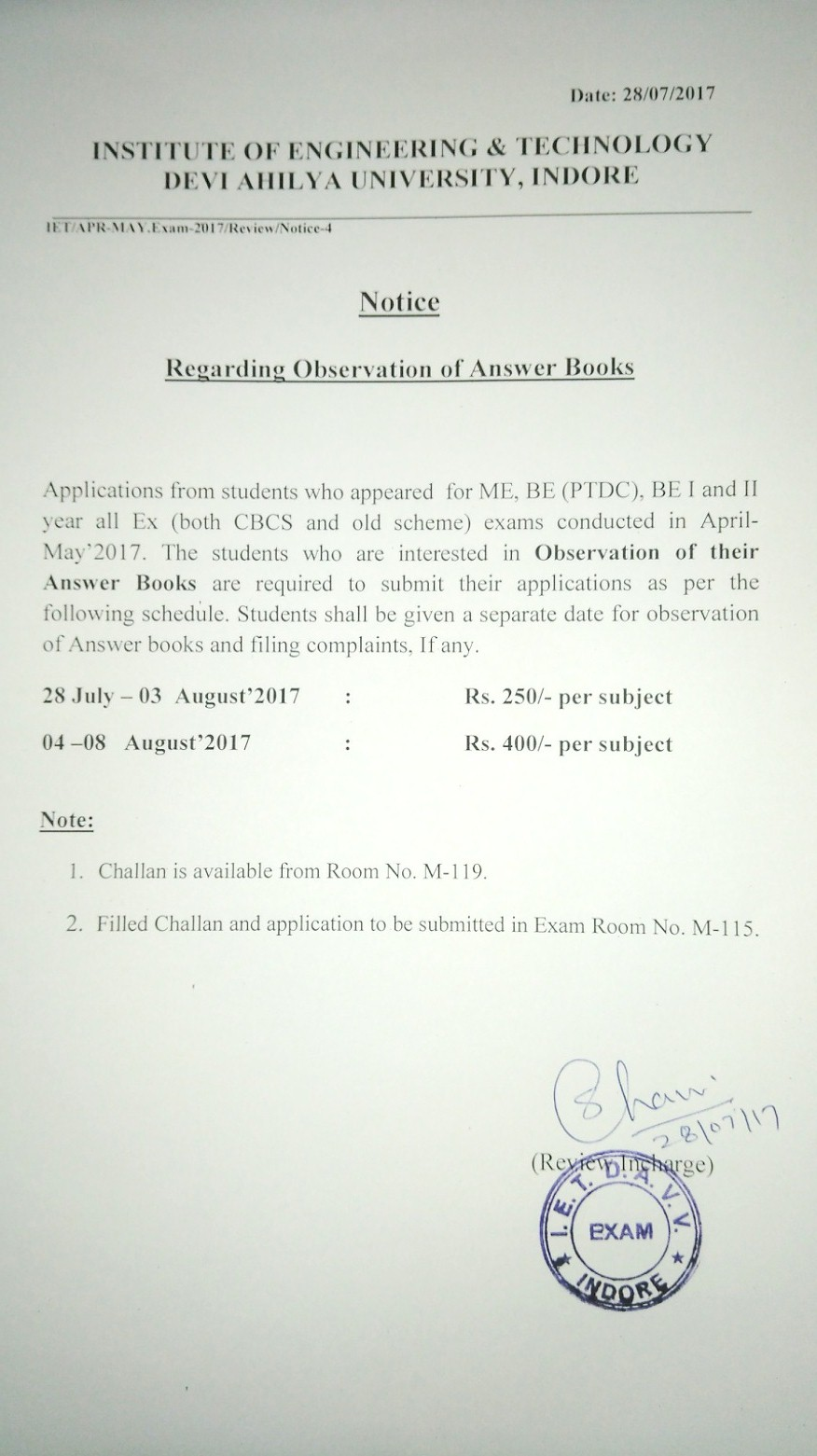 Institute of Engineering & Technology - Review Notice for BE ME PTDC