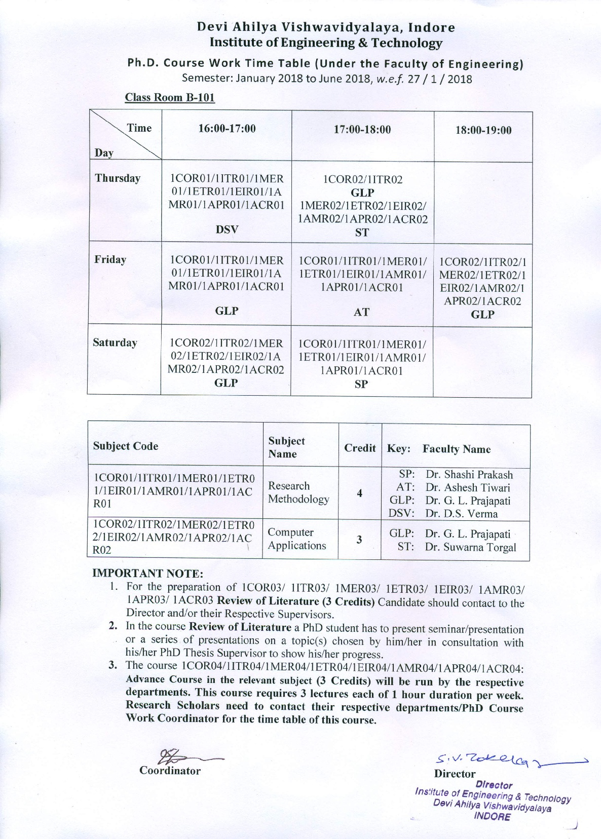 PhD Course Work Time table 2018 001